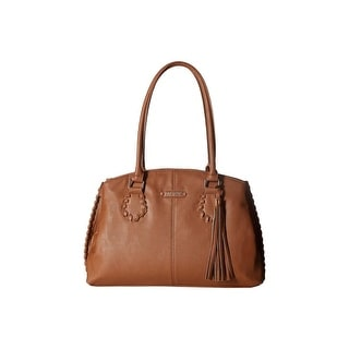 Nine West Womens World Whip Satchel Handbag Faux Leather Triple Entry - Tobacco - Large