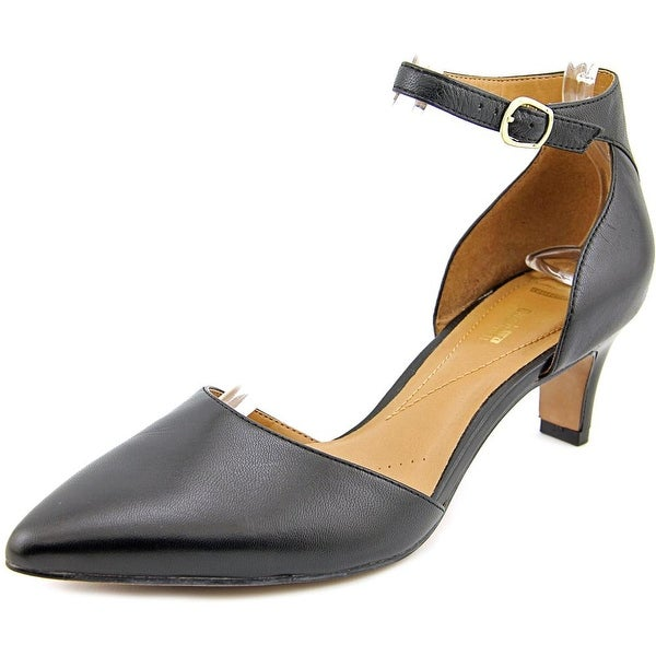 Clarks Narrative Crewso Reading Women Pointed Toe Leather Black Heels