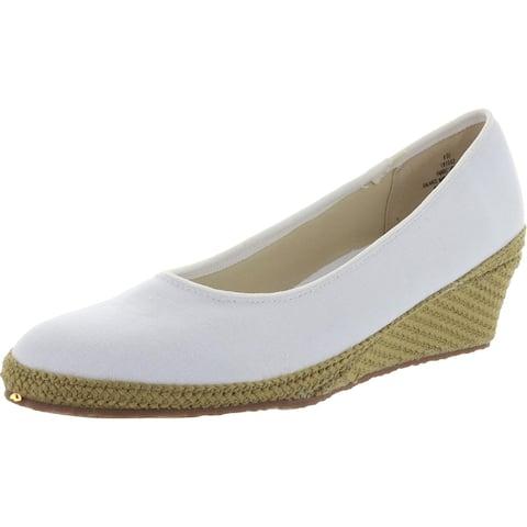 Beacon Womens Newport Wedge Heels Canvas Slip-On - White