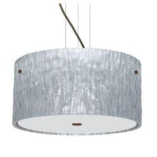 Besa Lighting 1KV-4008SS Tamburo 3 Light Cable-Hung Pendant with Stone Silver Foil Glass Shade