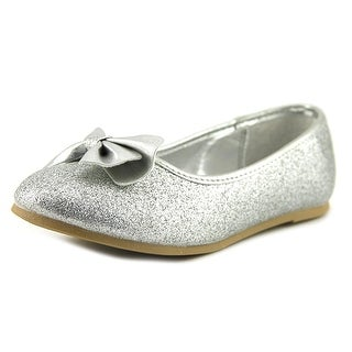 Nina Hazelle Youth Round Toe Synthetic Silver Flats