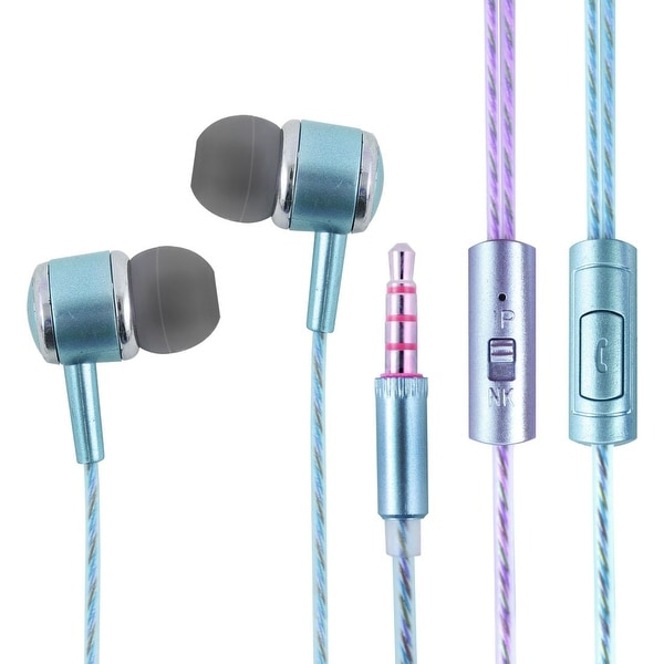 PC Computer Phone Plastic 3.5mm Male Thin Wire Perfume Smell Earphone 1.2M Blue