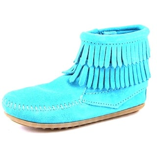 Minnetonka Double Fringe Side Zip Boot Round Toe Suede Ankle Boot