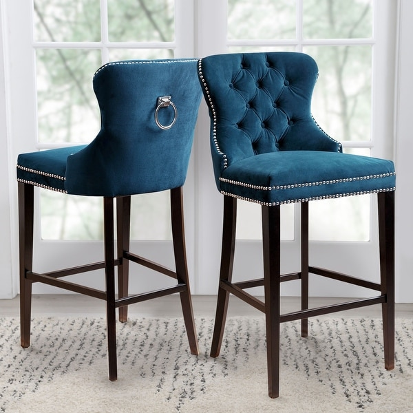 Abbyson Versailles 30 Inch Blue Tufted Bar Stool. Opens flyout.