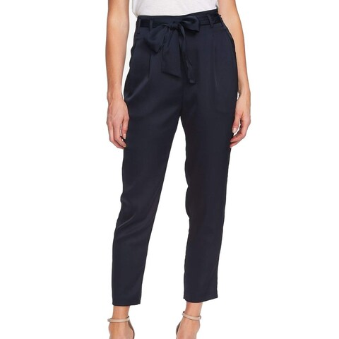 CeCe Navy Blue Womens Size 12 Ankle High-Waist Belted Dress Pants