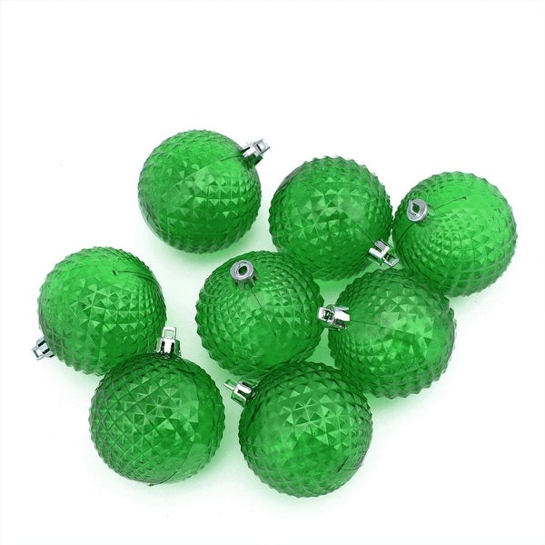 "8ct Xmas Green Transparent Diamond Cut Shatterproof Christmas Ball Ornaments 2.5"""