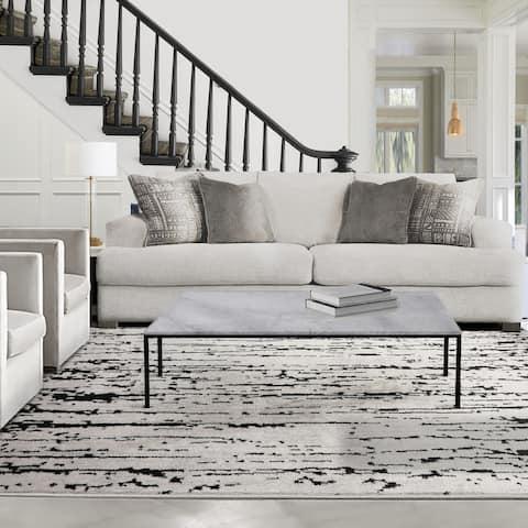 LoomBloom Persian Polypropylene Lisette Modern & Contemporary Oriental Area Rug Gray, Black Color