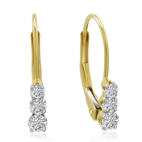Amanda Rose AGS Certified 10K Yellow Gold Three-Stone Diamond Leverback Earrings 1/4cttw