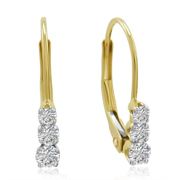 5f4991f7b53361 Amanda Rose AGS Certified 10K Yellow Gold Three-Stone Diamond Leverback  Earrings 1/4cttw