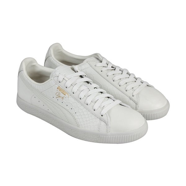 4d362bfe13 Shop Puma Clyde Premium Mens White Leather Lace Up Sneakers Shoes ...