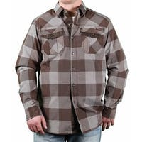 MO7 Men's Yarn-Dyed Gingham Check-On-Check Long Sleeve Woven Shirt