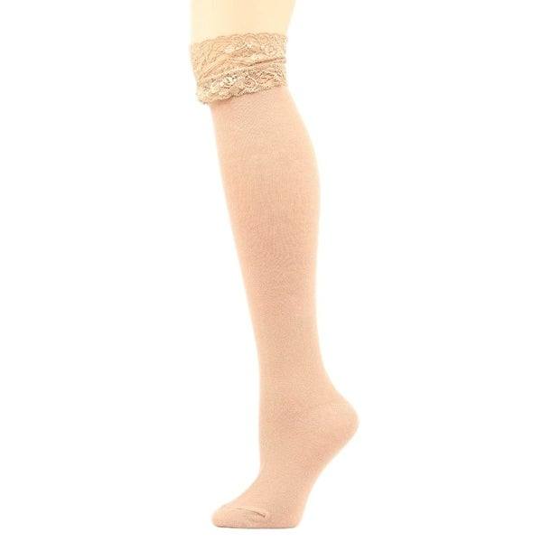 Blazin Roxx Socks Womens Fashion Over Knee Lace Top Tan