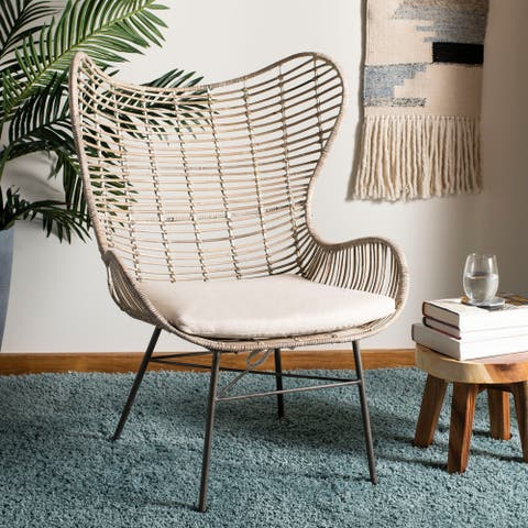 "SAFAVIEH Malia Rattan Wingback Armchair -White Washed - 31.7"" x 28.4"" x 40.2"""
