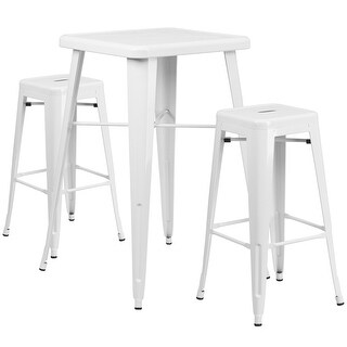 Brimmes 3pcs Square 23.75'' White Metal Table w/2 Square Seat Backless Barstool