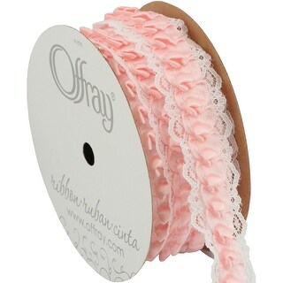 "Caroline Lace Edge Satin Ribbon 1""X5yd-Pink"