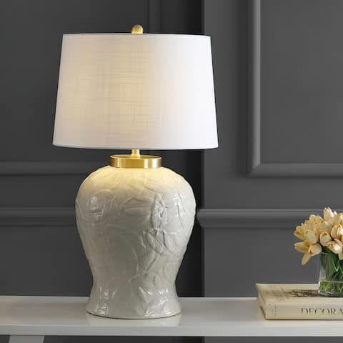 "Regency Palm Leaf Ceramic Cottage LED Table Lamp, Cream by JONATHAN Y - 31.5"""