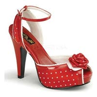 Pin Up Couture Women's Bettie 06 Red Polka Dot Satin