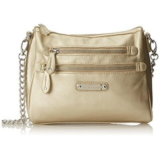 Franco Sarto Womens Class Act Shoulder Handbag Faux Leather Metallic - Soft Gold - Medium
