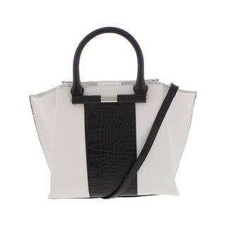 Nine West Womens Divide And Conquer Satchel Handbag Faux Leather Colorblock Medium