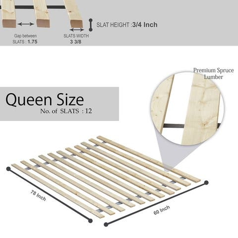 ONETAN 0.75-Inch Heavy Duty Vertical Wooden Mattress Support Bed Slats / Bunkie Board.