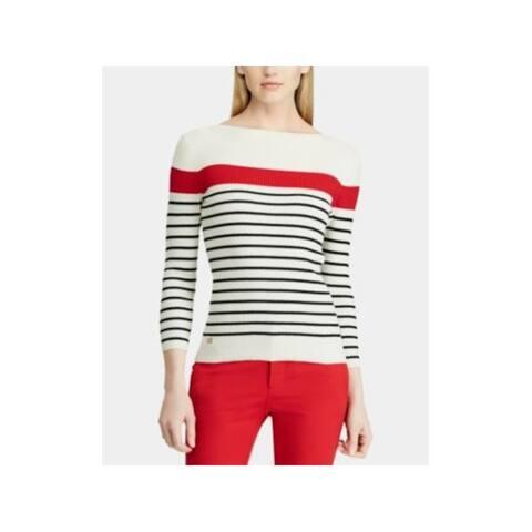 RALPH LAUREN Womens Beige Striped Long Sleeve Jewel Neck Top Size L