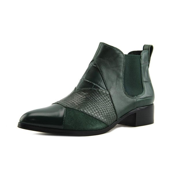 Coach Suffolk Patchwork Women Pointed Toe Leather Green Bootie