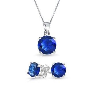 Bling Jewelry Blue CZ Set 7mm Sterling Silver Stud Set