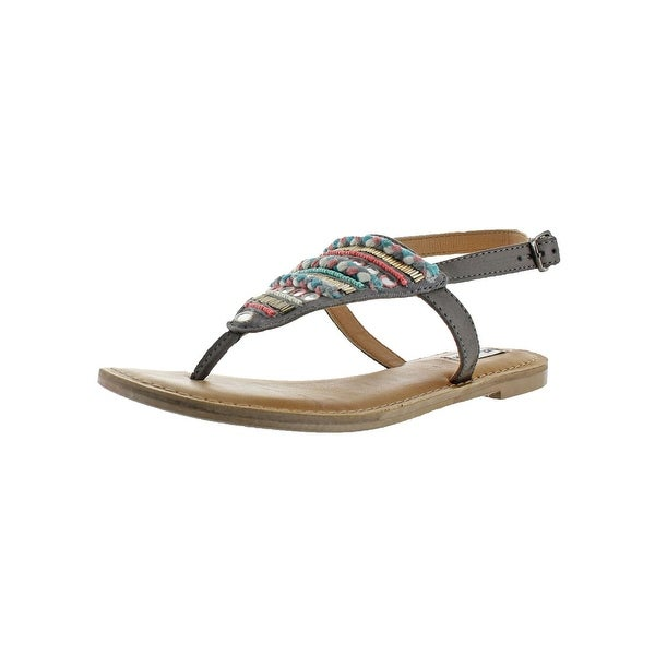 Not Rated Womens Sylen T-Strap Sandals Beaded Braided