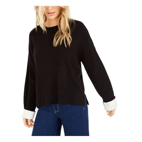 BAR III Womens Black Solid Long Sleeve Crew Neck Sweater Size M