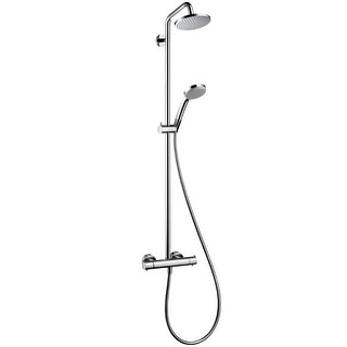 """Hansgrohe 27169  Croma Green Showerpipe Shower System with 1.75gpm Multi-Function Hand Shower, 63"""" Hose and Shower Head - Eco"""