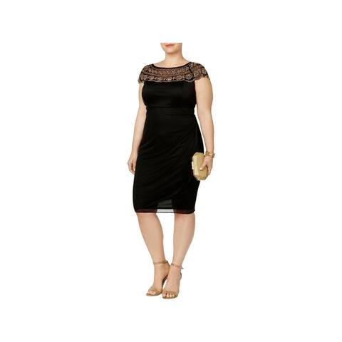 MSK Women Womens Plus Cocktail Dress Beaded Illusion