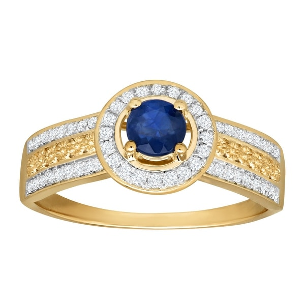 3/8 ct Natural Kanchanaburi Sapphire & 1/5 ct Diamond Ring in 14K Gold - Blue