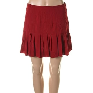 Catherine Malandrino Womens Silk Pleated A-Line Skirt - 4