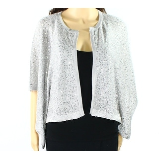 Alfani NEW Silver Women's Size Large L Sequin Knit Cardigan Sweater