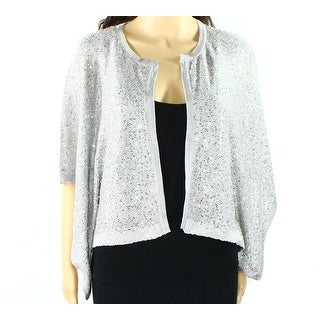 Alfani NEW Silver Womens Size Medium M Cardigan Sequin Shrug Sweater