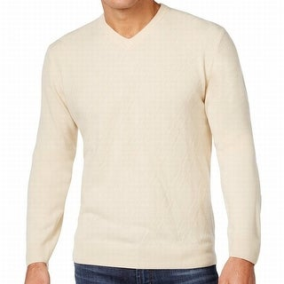 Weatherproof NEW White Ivory Mens Size XL Diamond Knit V-Neck Sweater