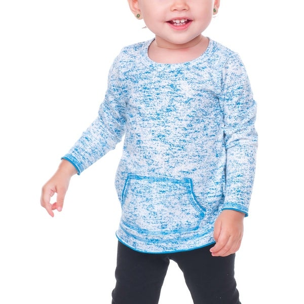 Kavio! Infants Static Jersey Print Cntrst Raw Edge Long Sleeve With Pouch