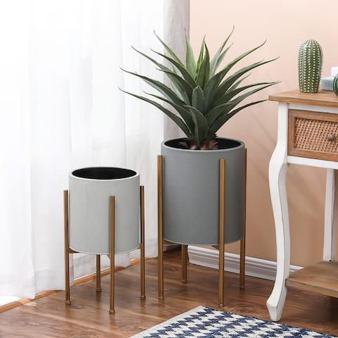 2-Piece Gray Round Metal Planters and Gold Stand
