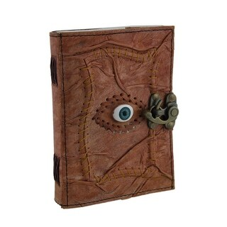 All Knowing Eye Stitched Embossed Leather Blank Journal w/Latch