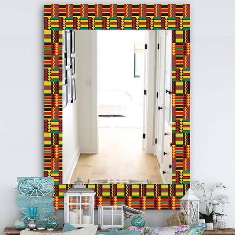 Designart 'African Pattern' Bohemian and Eclectic Mirror - Vanity Mirror