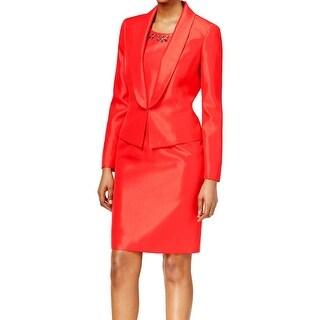 Kasper NEW Red Shantung Embellished Women's Size 18 Sheath Dress Set