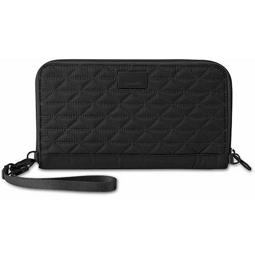 Pacsafe RFIDsafe W200 - Black RFID Blocking Travel Wallet w/ Detachable Strap