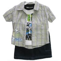 Sk8er Club Little Boys Gray Plaid Short Sleeve Shirt T-Shirt 3 Pc Shorts Set 2T-4T