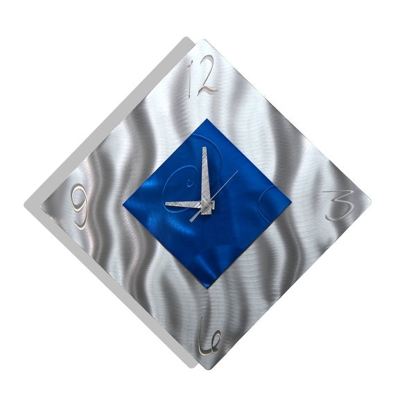 Statements2000 Blue / Silver 17-inch Metal Hanging Wall Clock - Spare Moment