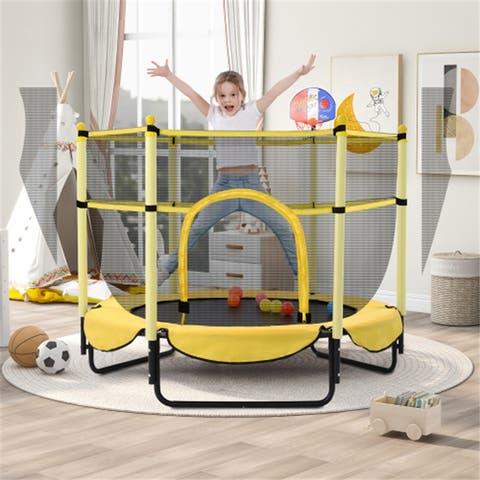 5FT Outdoor & Indoor Mini Toddler Trampoline with Basketball Hoop