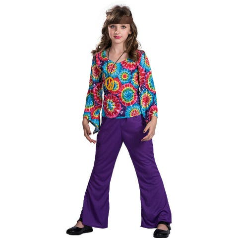 Eraspooky Child Girls Hippie 60s 70s Halloween Costume Party Outfits Fancy Dress