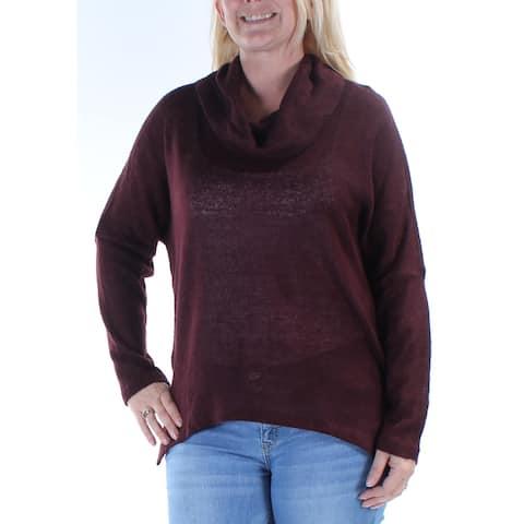 BAR III Womens Burgundy Dolman Sleeve Cowl Neck Hi-Lo Sweater Size L