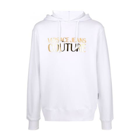 Versace Jeans Couture Men's Metallic Logo Hoodie White