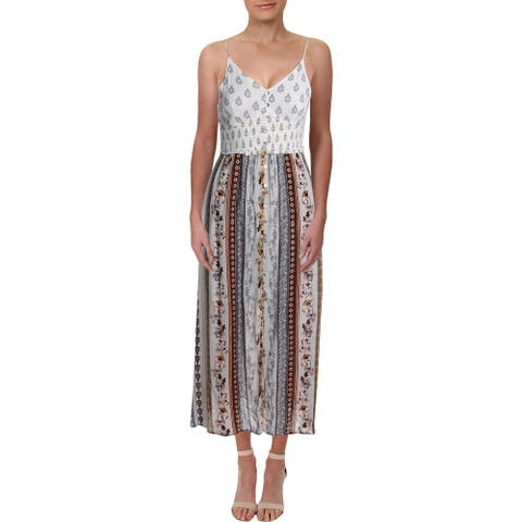 Aqua Womens Maxi Dress Printed Button-Down - Pale Blue