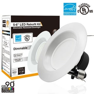 1/4/12PACK 5/6 inch Dimmable Retrofit LED Recessed LED Downlight, 15W (100W Equivalent),3000/4000/5000K